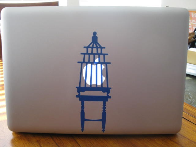 Bird Cage vinyl laptop or wall decal